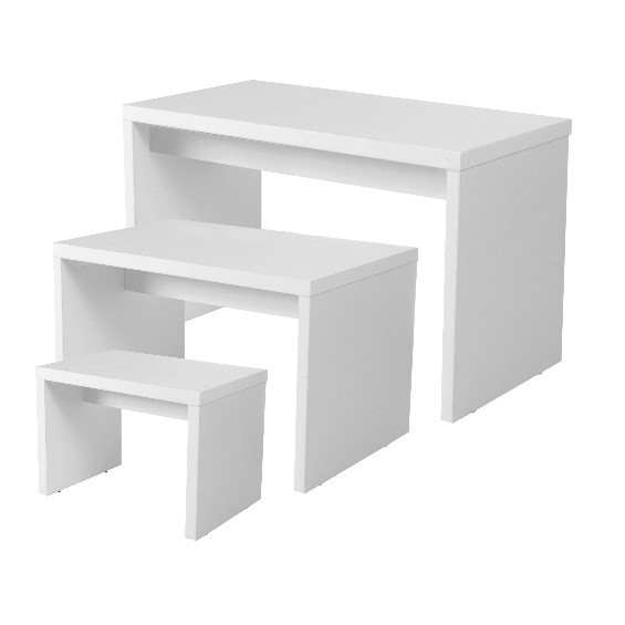 White Nesting Table For Retail Store ~ Retail shop display table stand and podium buy